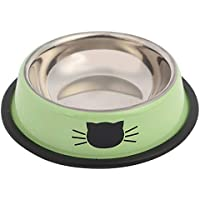 Pet Cat Bowl Durable Stainless Steel Paint Feeding Dishes Non-Slip Puppy Cat Food Drink Water Feeder Dogs Feeding…