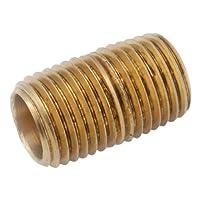 """Anderson Metals Acople de tubería de latón rojo, pezón cerrado, 1 """"NPT macho, 1-1 /2"""" longitud"""