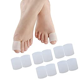 Toe Sleeves, Toe Protectors, 10 Pcs Set (White: 1 Inch Diameter) Toe Caps Pads for Hammer Toe,Stubbed Toe,Crossing Toes,Corns and Calluses (5 Pairs for Big Toes)