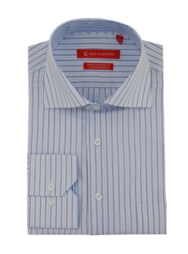 Gino Valentino Mens Striped Dress Shirt Cotton Spread Collar Barrel Cuff (16