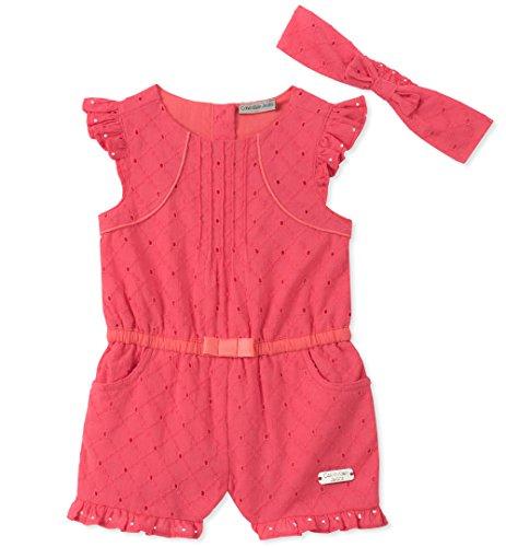 Calvin Klein Baby Girls Romper Set, Watermelon, 24M by Calvin Klein