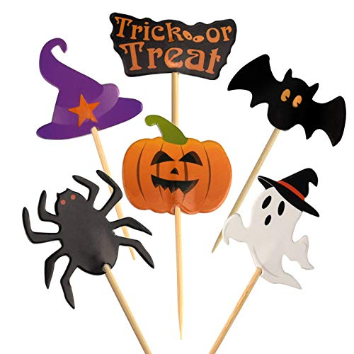 FEPITO 60 Pieces Halloween Decoration Topper Halloween Toothpick Flags Markers for Halloween Party Decor -
