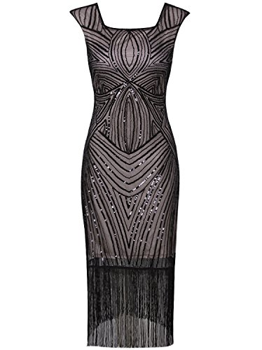Vijiv Women's 1920s Vintage Gatsby Inspired Beaded Long Fringe Party Flapper Dress With Sleeves,Black -