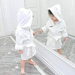 100% Cotton Coral fleece Children Bathrobe Dressing Gown Hooded Towelling Bath Robe Soft Towelling Loungewear 2-8 Years