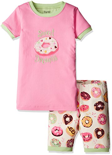 Hatley Big Girls' Organic Cotton Short Sleeve Applique Pajama Set, Sweet Donuts, 7 Years by Hatley