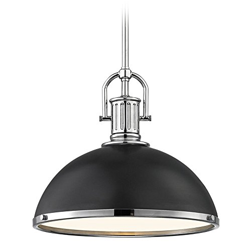 (Farmhouse Pendant Light Black with Chrome Accents 13.38-inch Wide)