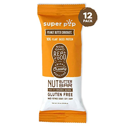 Super Pop Snacks Plant Based Protein Bar, Peanut Butter Chocolate, Made with Performance Nut Butter and Whole Foods, Vegan Friendly Ingredients, Dairy Free, Keto Friendly, 10g of Protein, 12 pack