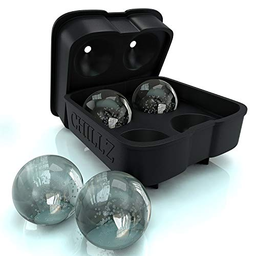 Chillz Ice Ball Maker Mold – Black Flexible Silicone Ice Tray – Molds 4 X 4.5cm Round Ice Ball Spheres