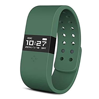 Tronfy® ERI Bluetooth 4.0 Fitness Activity Tracker Bracelet & Sleep Monitor Smart Wristband w/LED Touch Screen Waterproof IP67 Thermometer Measuring Heart Rate for Andriod & iOS (Army Green)