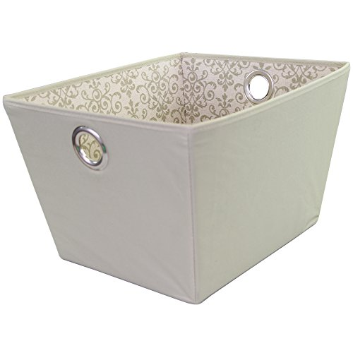 Filigree Basket (Storage Basket, Durable Open Tapered Polyester Canvas Storage Bin with Built-in Handles, Olive, Filigree Print, Large)