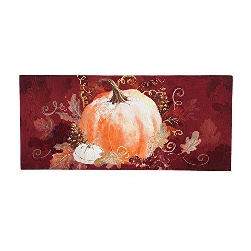 Evergreen Burgundy PumpkinSassafrass Decorative Mat Insert, 10 x 22 inches ()