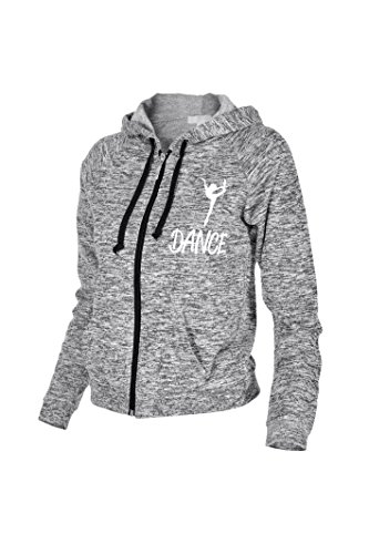 Beachcoco Junior Dance Printed Zipper Hooded Jacket (S, Heather Charcoal Grey) (Juniors Hoodie Zipper)