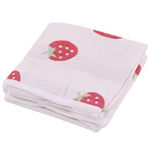 DealMux Mezclas del algodón fresa impresión del agua del hogar absorción de 2pcs toalla de cara de lavado Baño de limpieza de blanco DLM-B0722QN5RW