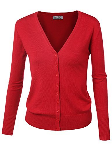 BIADANI Women Button Down Long Sleeve Soft V-Neck Cardigan Sweater Red Small ()