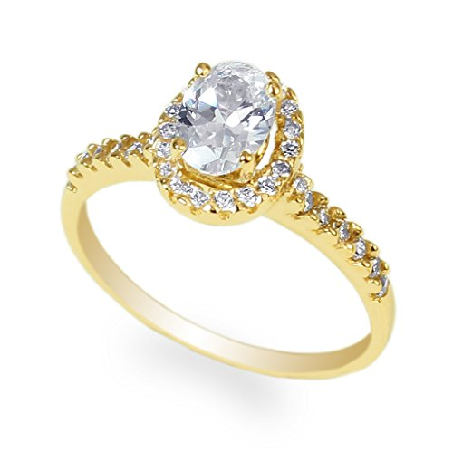 JamesJenny Ladies Yellow Gold Plated 1.0ct Oval CZ Halo Ring Size 9