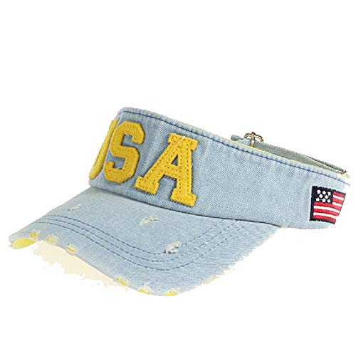 (Brand Empty Top Visor Hat for Women Men Student Wash Denim Embroidery USA Sun Cap Snapback Caps)