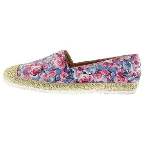 Angkorly - Chaussure Mode Espadrille Mocassin semelle basket femme fleurs corde Talon plat 2 CM - Jaune