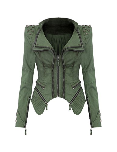 Studded Zip Front Jacket (Grapent Womens Denim Studded Shoulder Double Lapel Washed Zip Moto Blazer Jacket Green US)