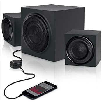 2.1 Computer Speakers with Subwoffer and AUX Cable Bundle