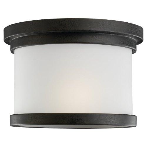 Sea Gull Lighting 78660-185 Flush Mount with Satin EtchedGlass Shades, Forged Iron Finish
