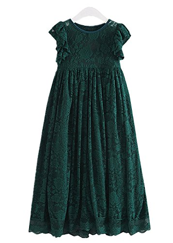 2Bunnies Girls Victorian Vintage Lace Bow Keyhole Opening Long Dress (Green, 2T) (Girls Victorian Dress)