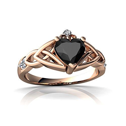 14kt Diamond Trinity Knot Ring - 14kt Rose Gold Black Onyx and Diamond 6mm Heart Claddagh Trinity Knot Ring - Size 5
