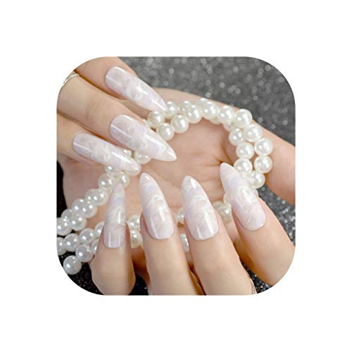 UV Plastics Nails Super long White Clouds Pointed Press On Nails False Nail Tips Light Color Full Wrap 24pcs with Glue sticker,light marble ()