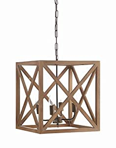 "Creative Co-Op Metal and Wood Chandelier, 15.75"" Square by 17.75"" Height"
