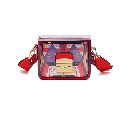 Crossbody Length PVC Purse 85 Durable Handbag Women's Purse Wide Clear Bag Red Strap Transparent Organizer Shoulder Small 135cm rP0fzgPqwx