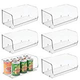 mDesign Household Stackable Plastic Storage Organizer Bin Basket with Open Front for Kitchen Cabinets, Pantry, Offices, Closets, Bedrooms, Bathrooms - 12'' Wide, Pack of 6, Clear