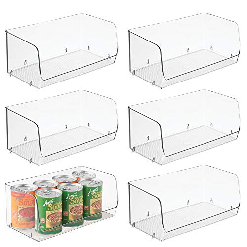 Stackable Plastic Storage Organizer Bin Basket for Under Sink Storage