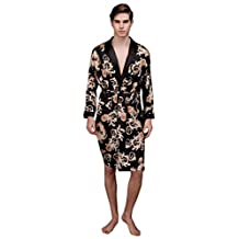 Surenow Mens Satin Luxurious Medium Lightweight Paisley Loungewear Bathrobe Robe