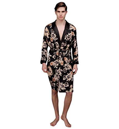 Surenow Man Night Satin Robe Pyjamas Room Bathrobe Men Robes Long Satin Lightweight Sleepwear Gown