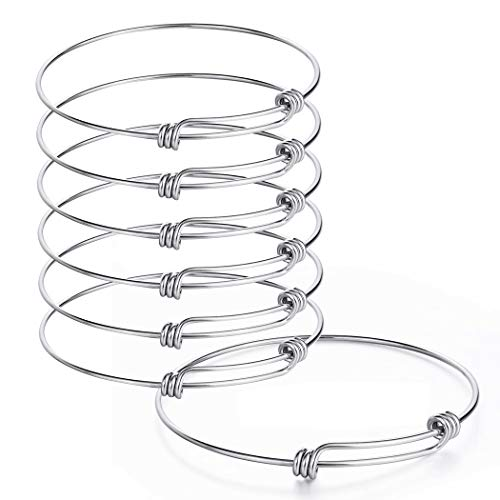 Sromay 8 Pieces Wire Blank Bracelet Stainless Steel Expandable Charm Bangle Bracelet for DIY Jewelry Making, 2.6 Inch for $<!--$10.99-->