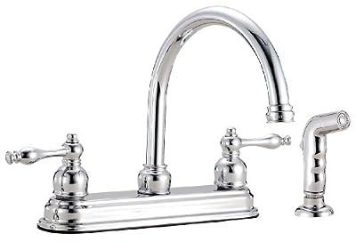 Design House 545442 Saratoga Kitchen Faucet with Sprayer, Polished Chrome Finish