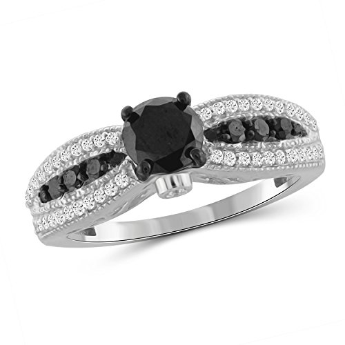 Jewelexcess 1.00 CTW Black & White Diamond Ring in Sterling Silver