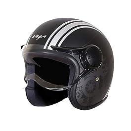 Vega Jet Old School W/Visor Dull Black Silver Helmet, L