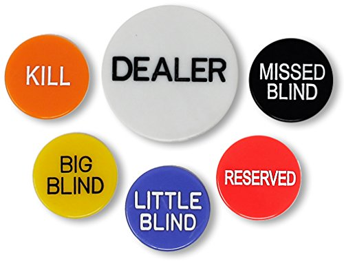 Da Vinci Set of 6 Professional Casino Texas Holdem Poker Dealer Buttons