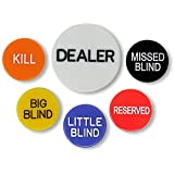 Set of 6 Professional Casino Texas Holdem Poker Dealer Buttons