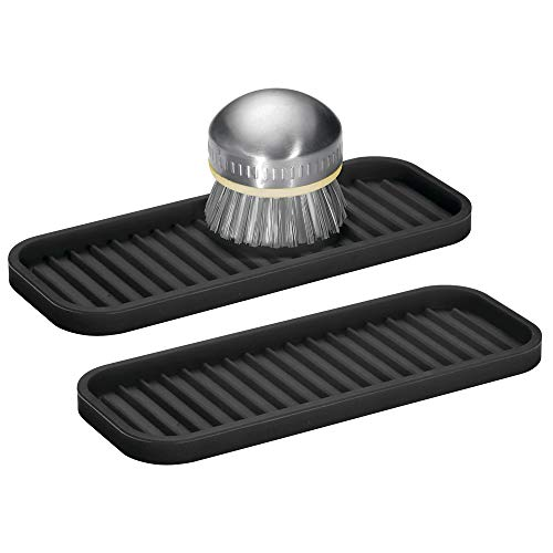 - mDesign Silicone Kitchen Sink Storage Organizer Holder Tray for Sponges, Soaps, Scrubbers - Ribbed Base, Quick Drying, Waterproof, Non-Slip Durable - 2 Pack - Black