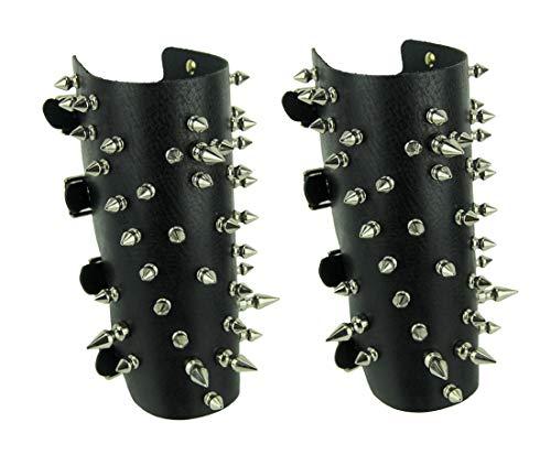 Zeckos Pair of Black Leather 50 Spike Gauntlet Wristbands by Zeckos (Image #3)