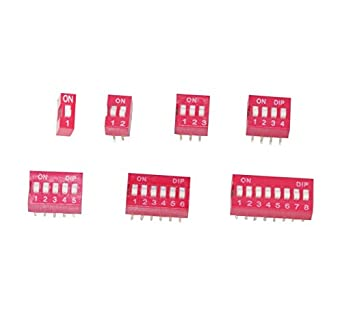 Haobase 35Pcs/Lot Dip Switch Kit In Box 1 2 3 4 5 6 8 Way 2.54mm Toggle Switch Red Snap Switches Kit( Each value 5Pcs))