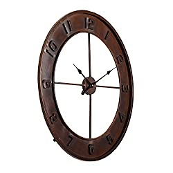 Utopia Alley Lancaster Rustic Wall Clock, Analog, Distressed Bronze Dark