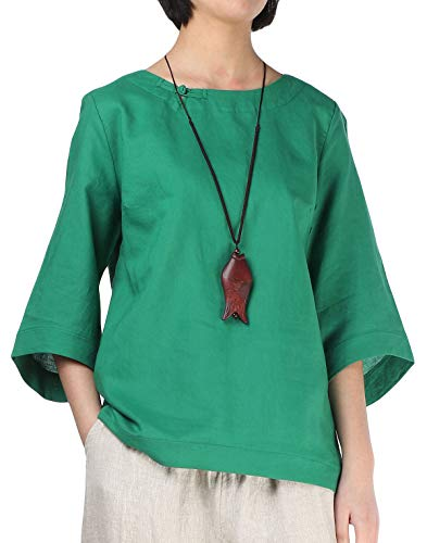 Minibee Women's Loose Cotton Linen Blouse Round Neck with Chinese Frog Button (L, Green) ()