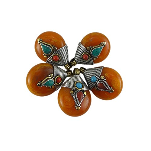 Tibetan Pear Shaped Pendant Turquoise and Red Coral 37mm x 25mm Loose Beads for Jewelry Making DIY One Piece Per (Pear Shaped Beads)