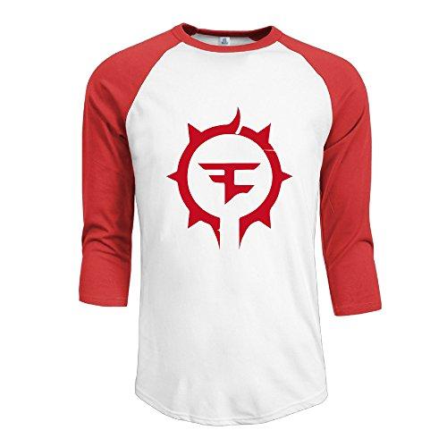 Men's Pour La FaZe Gaming Clan Horde Spray 3/4 Sleeve Raglan Baseball Tee M Red