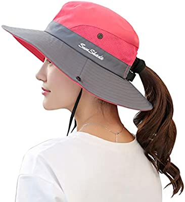 Muryobao Womens Outdoor UV Protection Foldable Mesh Wide Brim Beach Fishing Hat