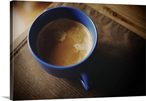 Espresso With Cream In Blue Porcelain Cup Gallery-Wrapped Canvas