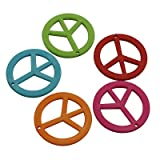 DIY Jewelry Making:12 pcs Colorful Acrylic Pendants, Opaque, Peace Sign, Multicolor, about 40mm in diameter, 3mm thick, hole: 2mm