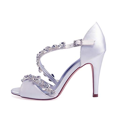 Mary Black Jane Satin Da Cm Toe 10 Per Buckle Crystal 5 Fiori Tacchi Platform Heel Sposa Alti Comfort L Donna yc Scarpe Tallone Sqp7WBwAx